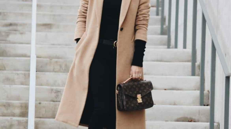 Rag & Bone Camel Coat, Black Turtleneck Sweater, Black Denim, Black Sock Booties, Louis Vuitton Bag - Her Fashioned Life