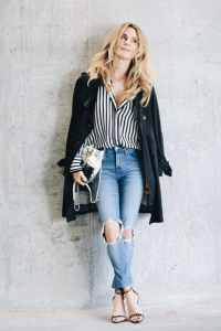 Black and White Outfit With Stripes by Her Fashioned Life
