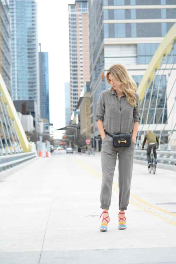 How to Style Multiple Trends - Utility Suit With Belt Bag and Rainbow Heels