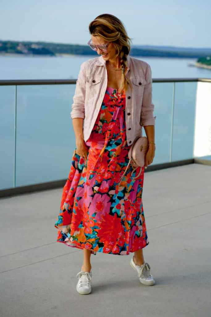 Floral Dress Styled With Pink Denim Jacket