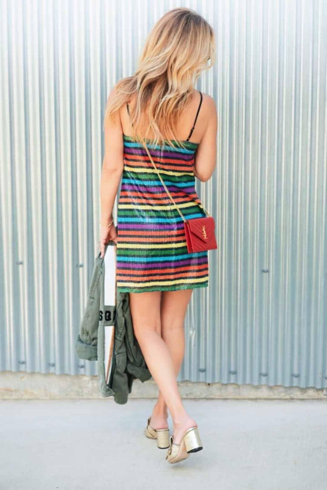 Summer Fashion Rainbow Metallic Slip Dress