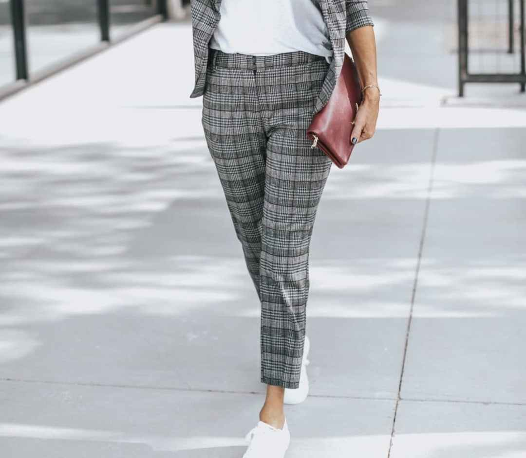 Plaid suit with white sneaker Her Fashioned Life