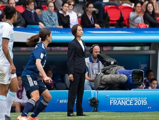 Asako Takakura looks onward as Japan play at the 2019 Women's World Cup.