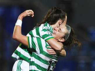 Celtic's Keeva Keenan and Caitlin Hayes celebrate after their 0-1 victory over Rangers.