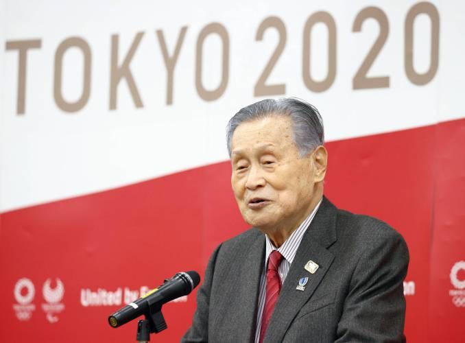 Tokyo organizing committee chief Yoshirō Mori speaks to staff members in Tokyo.