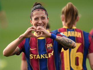 Jennifer Hermoso of FC Barcelona celebrates after scoring.