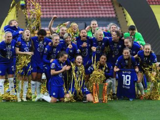 Chelsea women's football players celebrate winning the Continental Cup.