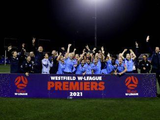 Sydney FC lift the W-League Premiers Plate.