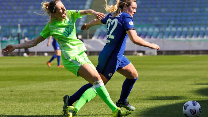 Wolfsburg's Kathrin Hendrich and Chelsea's Erin Cuthbert in action.