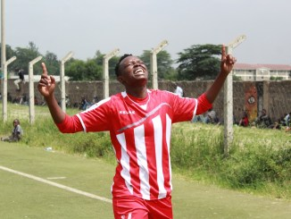 Lucy Mukhwana celebrates after scoring.
