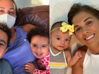 Sydney Leroux and Alex Morgan with their children.
