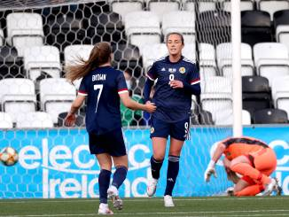 Scotland's Caroline Weir celebrates after scoring.