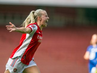 Beth Mead of Arsenal celebrates after scoring.