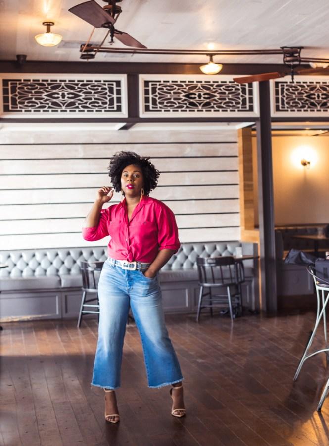 Pink silk shirt with wide leg denim culottes