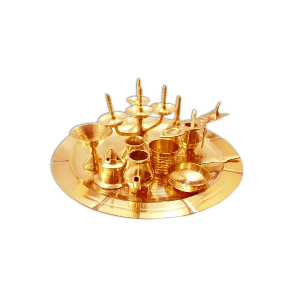 Brass Puja Thali Set Ashtamangalyam Set