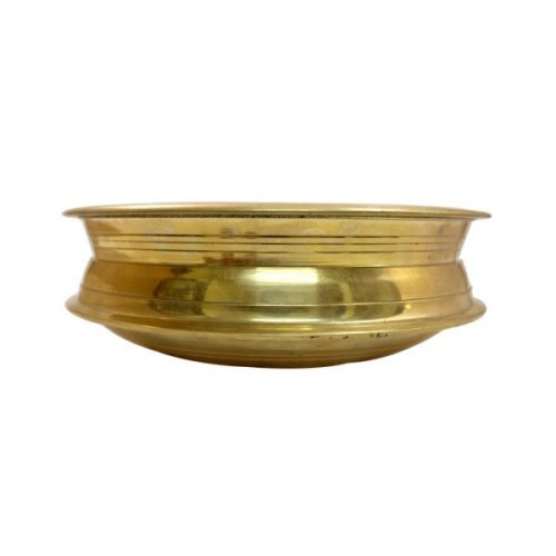 Polished Brass Cooking Kadai Uruli Vessel Deep Fry Pan