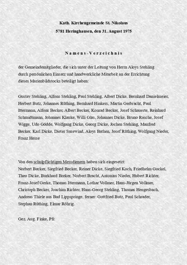 Bild 4 - Namensliste der Helfer zur Einweihung