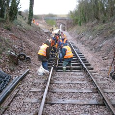 Volunteers fitting track Mountsorrel Station