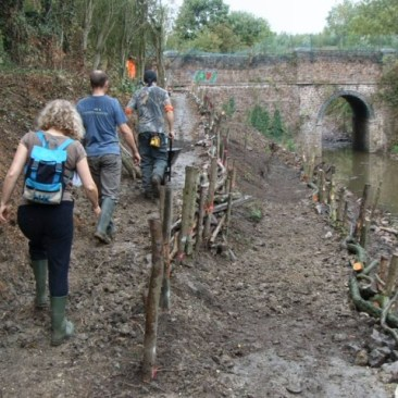 Temporary access to the Mountsorrel station cutting