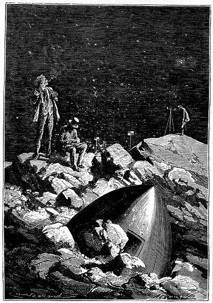 De La Terre à La Lune Jules Verne : terre, jules, verne, Illustration, Terre, Jules, Verne, #14836432