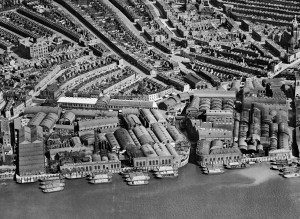 Price's candle factory and other riverside factories from the air, 1928. Price's candle factory, which opened off York Road in the mid 1840s, was one of the biggest and best-known in the area. Note also the packed streets of terraced workers' housing behind. © English Heritage
