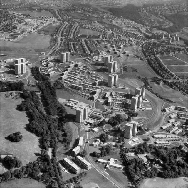 A vision of the future as it might have been: Norfolk Park estate, Sheffield, when brand new in 1969. Set in parkland with footpaths leading to the houses and flats, people and cars are completely separated. A brave experiment, most of it has now been demolished.