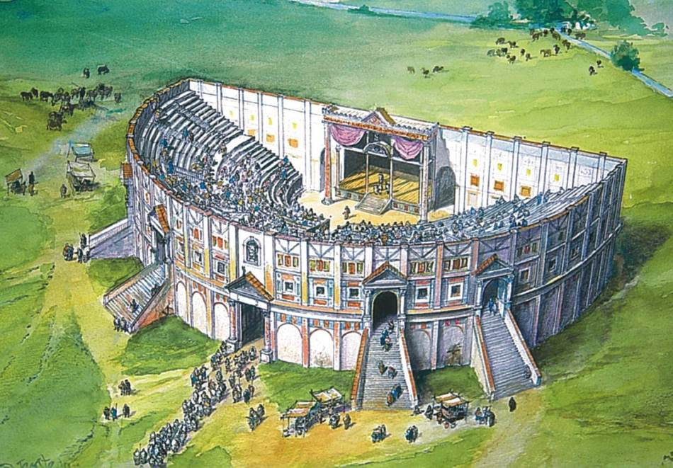 Reconstruction of Gosbecks Roman Theatre © Peter Froste and Colchester Archaeological Trust