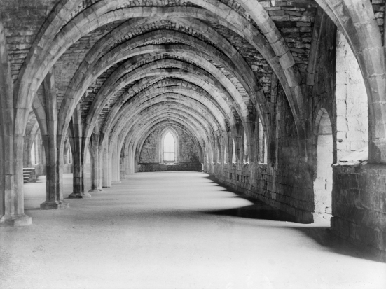 Fountains Abbey interior.  Reproduced by permission of English Heritage