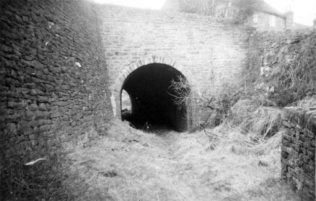 The tunnel's south portal in the 1960s, before the cutting was filled in. (c) Derbyshire Archaeological Society