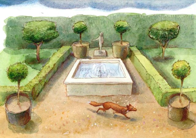 An illustration of a Roman garden by Judith Dobie © Historic England
