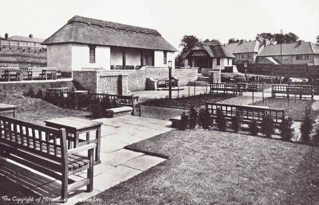 Historic image of the gardens at Brookhill Tavern, Birmingham. Built in 1927 it has been listed at Grade II. Image from Fifty Years of Brewing Book.