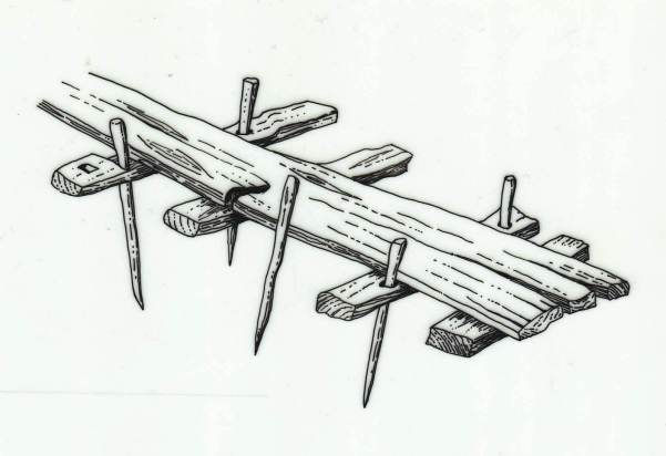 A reconstruction of the prehistoric Sweet Track, Somerset (now a public footpath). Heavy planks were used as transverse bearers and for walking on © after Coles B & Coles J, Sweet Track to Glastonbury (1986)