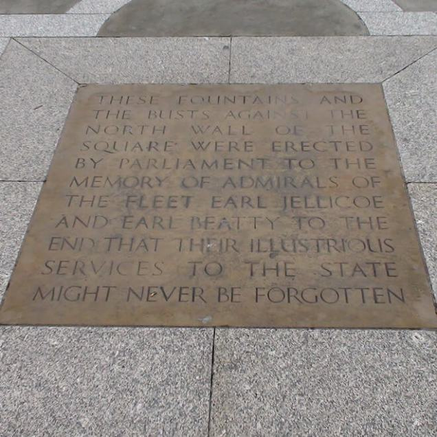 Plaque set within the central paving of Trafalgar Square commemorating Battle of Jutland Admirals Jellicoe and Beatty.