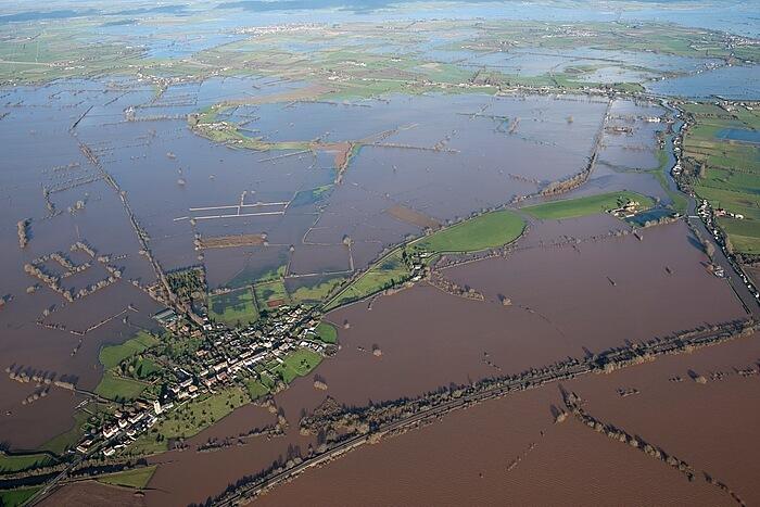 East Lyng and Isle of Athelney Somerset Levels winter floods 2014 Photo D Grady copyright Historic England