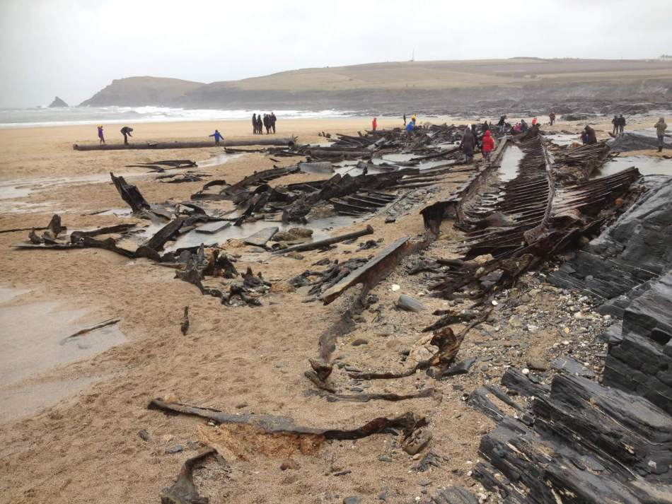 re exposed wreck of the SV Carl, Booby's Bay, North Cornwall 03-02-2014. Photo Dave Hooley