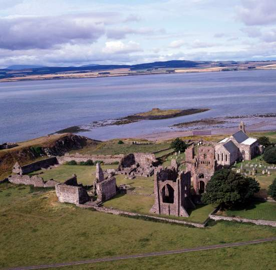 LINDISFARNE PRIORY, Northumberland. Aerial view.