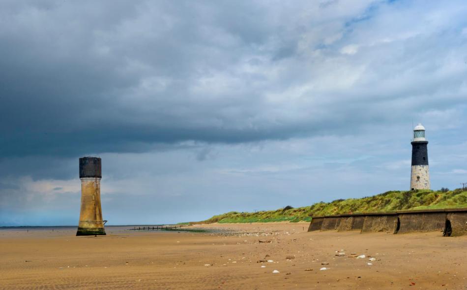 Spurn Head or Point, Easington, East Yorkshire. Lighthouses.