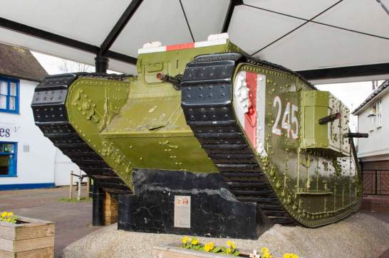 Rare surviving Mark IV tank of the type that fought at the Battle of Cambrai, Ashford, Kent. Presented to the town 1 August 1919 in recognition of local people's generous response to the National War Savings Appeals © Historic England DP 182278