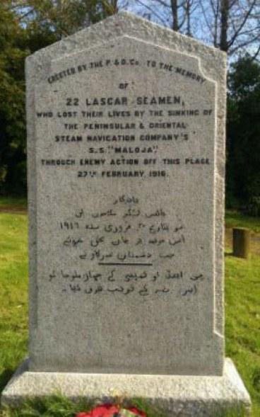 Memorial to 22 Indian merchant (lascar) seamen