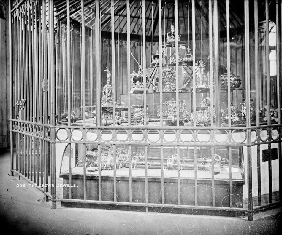 The Crown Jewels behind bars in the wakefield tower