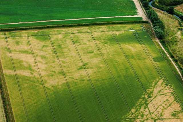 Aerial view of Neolithic enclosure in Cambridgeshire
