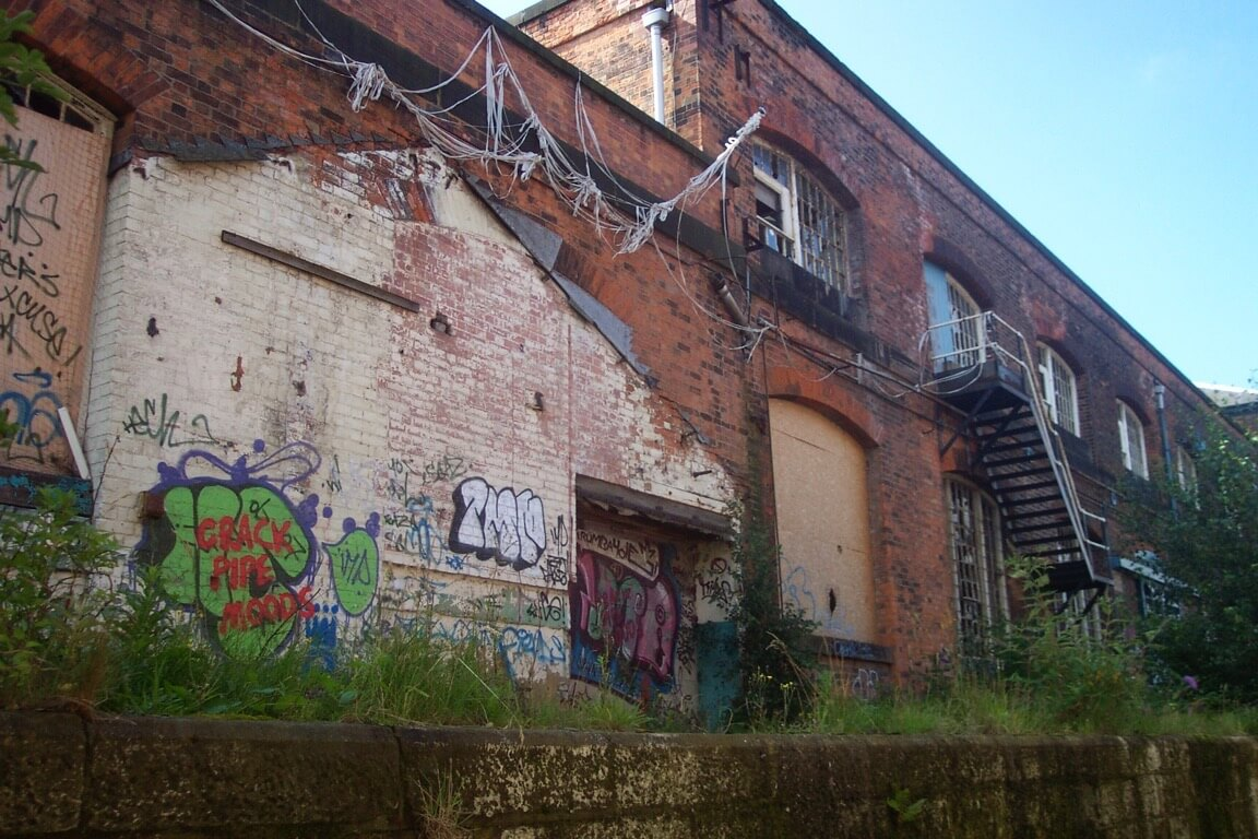 The Roundhouse, Derby in a state of dereliction before the project began