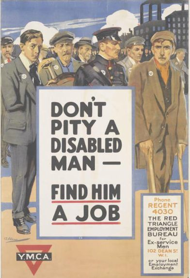 Poster reads 'Don't pity a disabled man - find him a job'