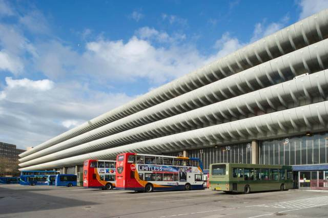 Preston Bus Garage, with buses parked up