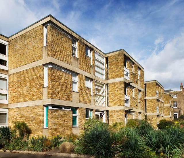Three story brick flats