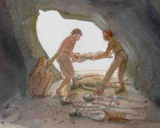 Reconstruction painting depicting a Neolithic cave burial taking place at a cave known as 'Aveline's Hole' in Somerset, showing an interior view of the cave and people lowering a body to the ground