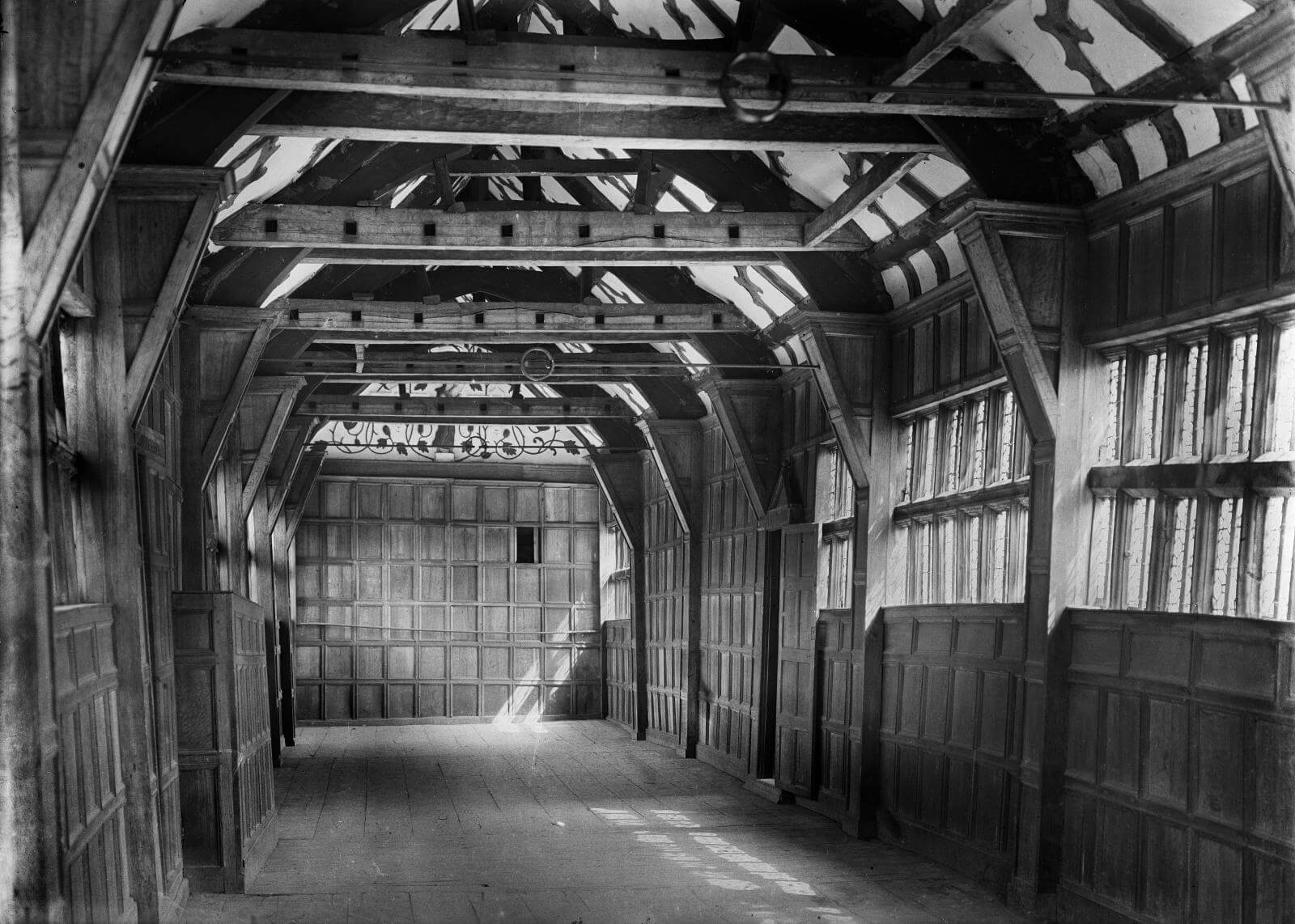 Little Moreton Hall interior view of the Long Gallery June 1908