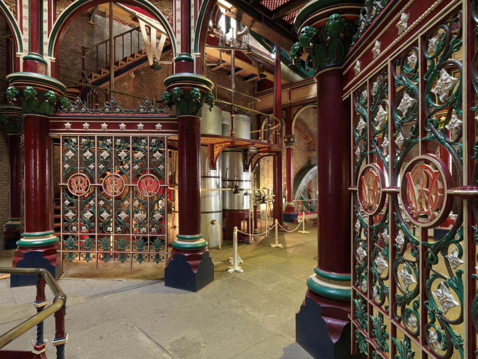 View of decorative ironwork inside Crossness Pumping Station