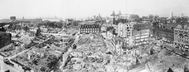 A panoramic view of the devastation caused by the the Blitz on Liverpool