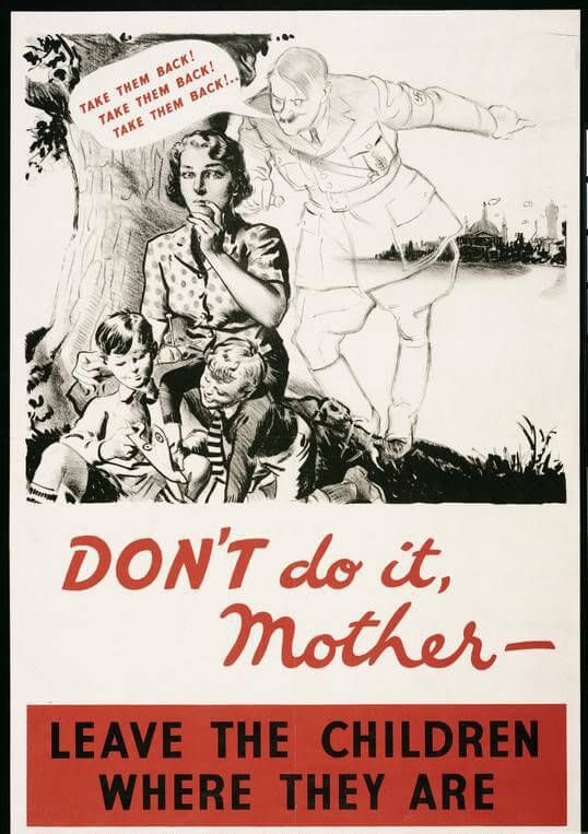 A British poster issued by Ministry of Health showing a ghostly figure of Adolph Hitler trying to persuade a young mother to take her evacuated children away from rural safety and back to the city
